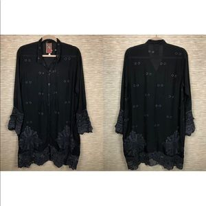 Johnny Was Black Embroidered Crochet Tunic Dress